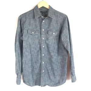 346 Brooks Brothers Fleece Button Down Chambray XL